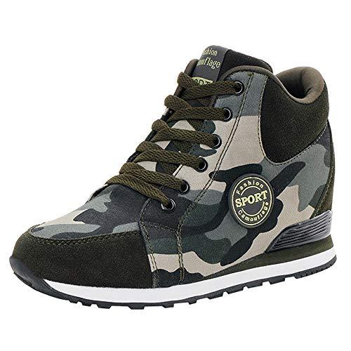 Zapatillas De Deporte Mujer Zapatos De Camuflaje Casuales Lona para Zapatos con Cordones Y Suela Gruesa