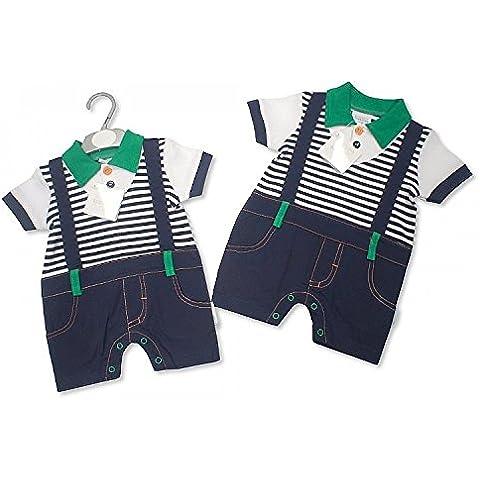 Nuovo Bambini Tutto In Uno Mock Set maglietta e pantaloncini con bretelle 3Misure Blu Navy e Verde