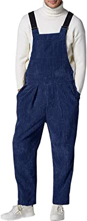 Gemijacka Bib and Brace Dungarees Mens Corduroy Overall with 5 Pockets Men Retro Trousers