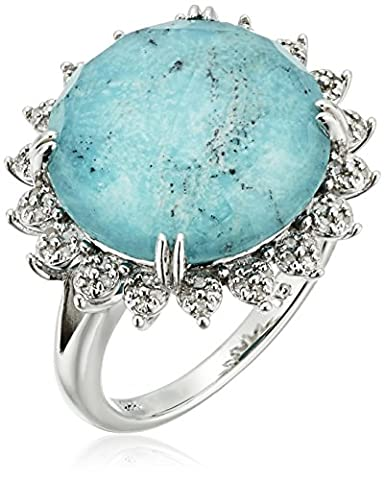 Sterling Silver Clear Quartz Over Turquoise Doublet Halo Diamond Ring