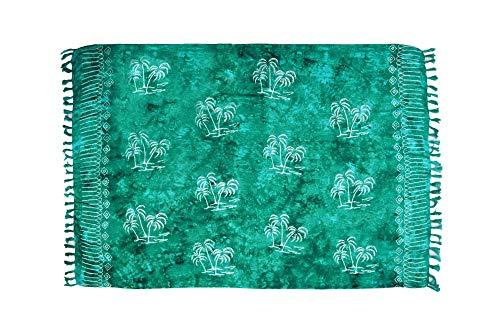 ManuMar Paréo Femme plage | Sarong | Serviette de plage | Tissu léger tosca vert motifs palmiers en dentelle | géante 225x115 cm | Serviette de Sauna/Hammam | Bikini | Bal