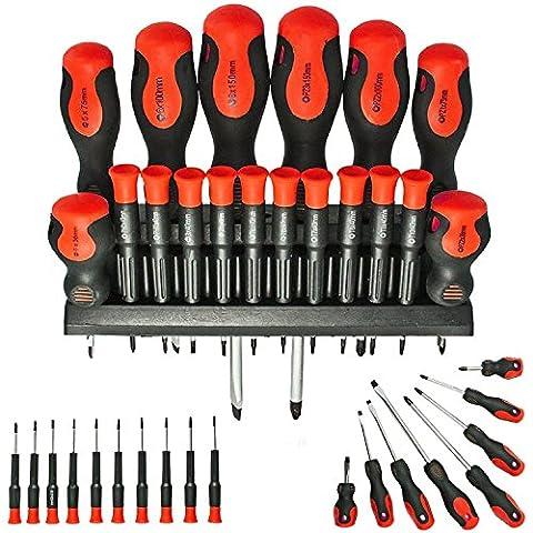 SPARES2GO Large & Small Mechanic / Engineer Precision Screwdriver Set (18 Piece)