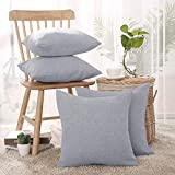 Deconovo 4er Pack zum Sparpreis Leinen Optik Kissenhülle Kissenbezüge Sofa Dekokissen Cushion Cover 40x40 cm Grau 4er Set