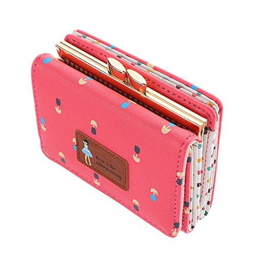 Prettyia Klein Portemonnaie Kugel-Verschluss Damen Mädchen Kurze Geldbeutel Leder Brieftasche Geldbörse Handtasche - Wassermelonenrot