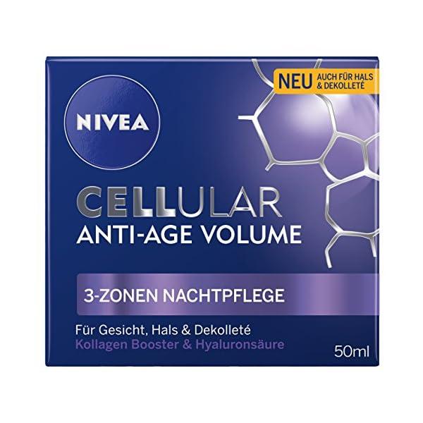 Nivea, Cellular Anti-Age Cuidado de Noche, Cuidado Facial, 3 zonas, paquete de 1 unidad (1 unidad de 50ml)