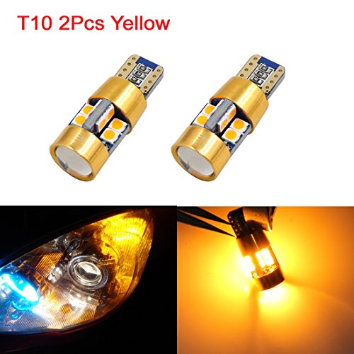sourcing map 2Pc T10 W5W 19 3030 SMD-LED -projecteur Jaune Lampe Wedge Len Int Voiture