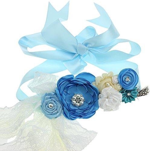 Maternidad Sash Flor Cinturón Baby Shower Dress Accesorios Damas Sash (Azul)