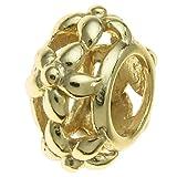 925 Sterling Silber Goldfarbene Blume Perle für europäische Charm-Armbänder