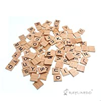 Raylinedo® 100X Wooden Scrabble Tiles Letter Alphabet Scrabbles Number Crafts English Words UPPERCASE MIXED