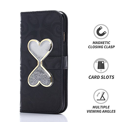 LIKESEA Schutzhülle für Apple iPhone 6 Plus (14 cm / 5,5 Zoll), mit Strasssteinen, mit Kreditkartenfächern, Magnetverschluss, Violett, Apple iPhone 6 Plus/ 6s Plus, schwarz