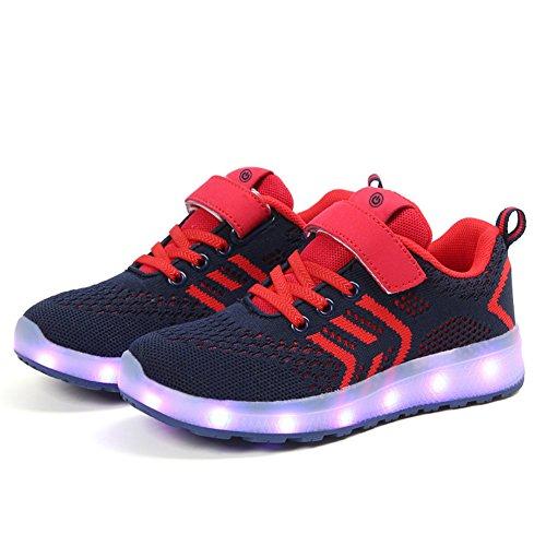 Moquite Scarpe LED Bambini Bambina 7 Colore USB Carica Sneaker Scarpe Unisex Bambino Scarpe con Luci Scarpe LED Luminosi Sneakers con Luce nella Suola Bright Shoes