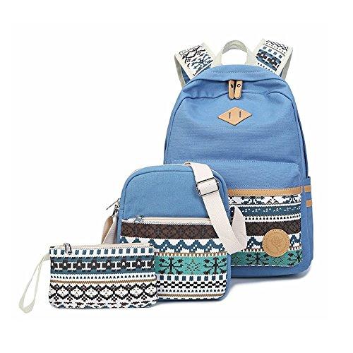 Zaino Casual Scuola Set 3pcs Daypacks/Canvas Backpack Tela Zaini Ragazza/Donna+ Messenger Bag + Purse-Tipo E Azzurro