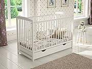 Babybett,Gitterbet Weiß mit Schublade 120 x 60, Kostenlose Matratze, Beißschienen, hölzerne Sicherheitsbarriere.