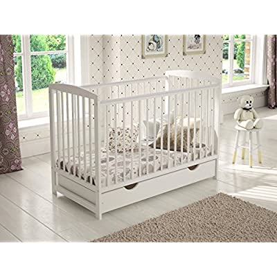 White Wooden Baby Cot with Drawer 120x60cm + Foam Mattress + Safety Wooden Barrier + Teething Rails  Wonderhome24