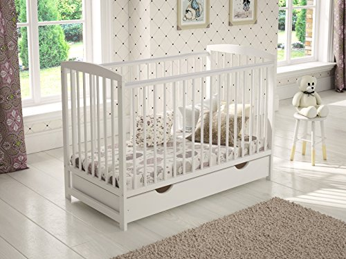White Wooden Baby Cot with Drawer 120x60cm + Foam Mattress + Safety Wooden Barrier + Teething Rails