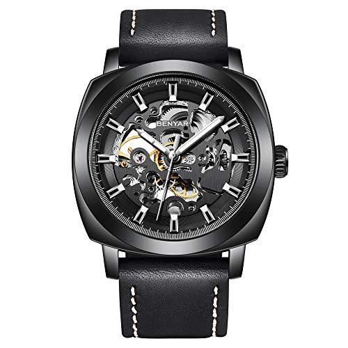 BY BENYAR - Herren Automatische Mechanische Armbanduhr | Lederband | Goldene Bewegung | 45 mm Skeleton Dial | Wasser- und Kratzfest