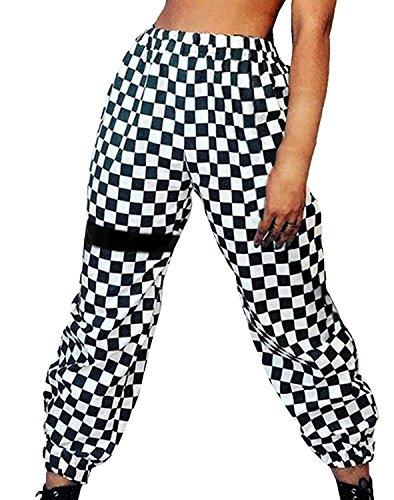 43b102068c0 Mujer Pantalones Pantalones Verano Largos Elegantes Elastisch Bund A  Cuadros.