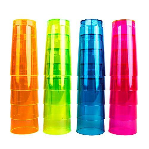 NEON STYLES ? Longdrink Becher, 250 ml, 20 Stück in einem Set, in vier bunten Neonfarben-Mix - pink, grün, orange und blau - brillant im Tageslicht - leuchten unter Schwarzlicht noch intensiver