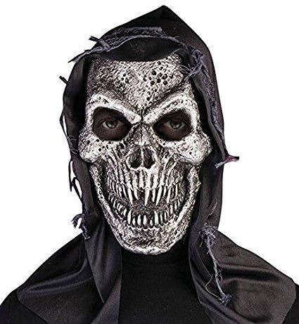 Kostüm Der Toten Männlich Tag (Bristol Novelty BM511Kapuzen Metall Totenkopf Maske, eine)