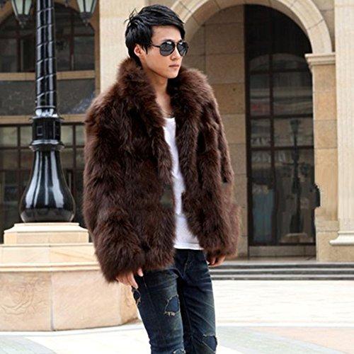 Ming Manteau Fourrure de Renard Blouson Homme Manches Longue Classique Veste D'hiver Brun