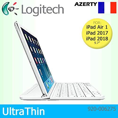 Logitech Étui à Clipser Ultra Fin aimanté pour Apple iPad Air 1, 2017 & ‿2018 Clavier Français AZERTY Blanc