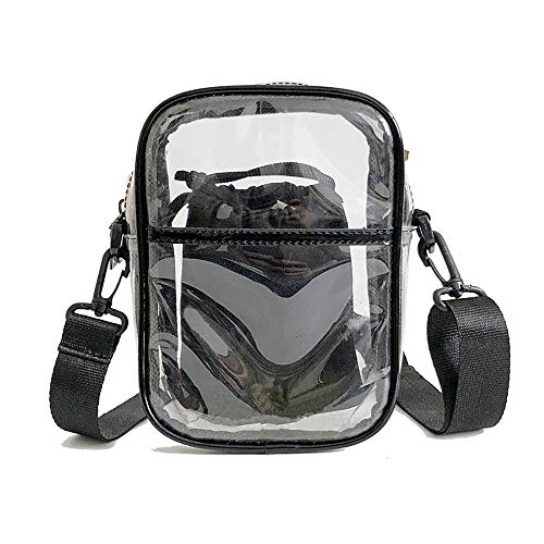 Enkrio Damen Umhängetasche, Umhängetasche, Umhängetasche, aus PVC, mit Reißverschluss und verstellbarem Gurt, Handtasche mit Innentasche, Black Brim, 5.9