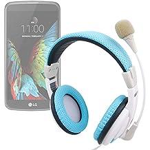 Auriculares de diadema en azul y blanco con micrófono direccionable para smartphone LG G350 , G5 , K10 , K3 , K4 , K5 , K7 3G , K7 LTE , K8 V , K8 , Optimus Zone 3 , P780 - DURAGADGET