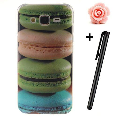 Custodia per Samsung Galaxy A32015, in morbido TPU, ultra sottile, trasparente, flessibile, SM-A300, TOYYM, colorata con disegno stampato, protettiva, motivo: fiore, con penna antipolvere Hamburger