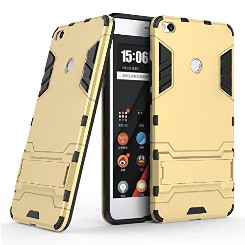 Funda para Xiaomi Mi Max 2 (6,44 Pulgadas) 2 en 1 Híbrida Rugged Armor Case Choque Absorción Protección Dual Layer Bumper Carcasa con pata de Cabra (Dorado)