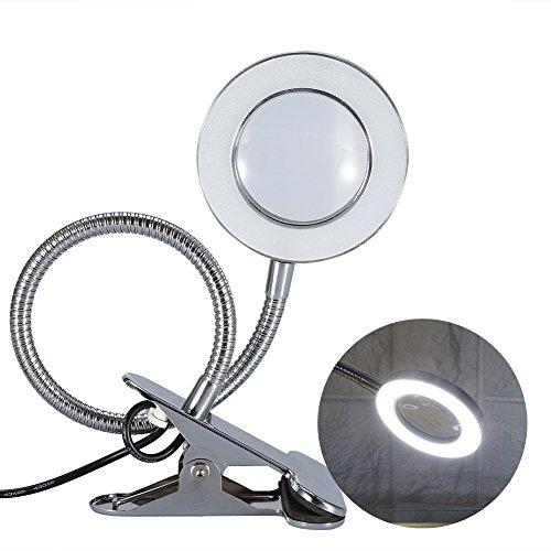 LED USB Tattoo Schönheit Lupenlampe, 2,5X Kaltlicht Lupenleuchte Metall Schlauchklemme Swing Arm Schreibtisch Leuchte Tattoo Lampe für Kosmetik- Massage und Tattoo Studio - Heavy-duty-lupe Lampe