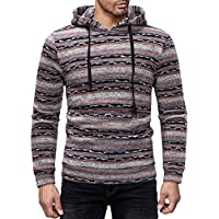 ZIYOU Männer Hoodie Pullover Herren Casual Farbblock Gestreift Sweatshirt Pulli mit Kapuze Herbst Winter