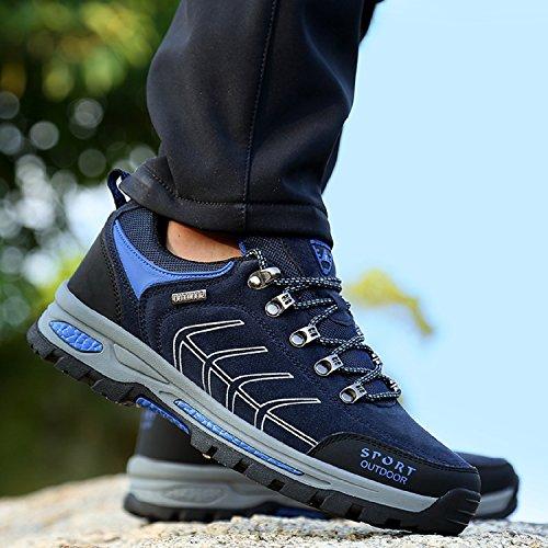 NEOKER Wanderschuhe Trekking Schuhe Herren Sports Outdoor Hiking Sneaker Armee Grün Blau Schwarz Grau 39-47 Navy Blau