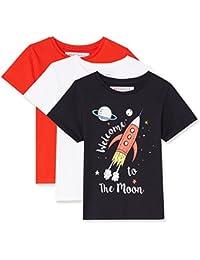 RED WAGON T-Shirt con Stampa 'Welcome To The Moon' Bambino, Pacco da 3