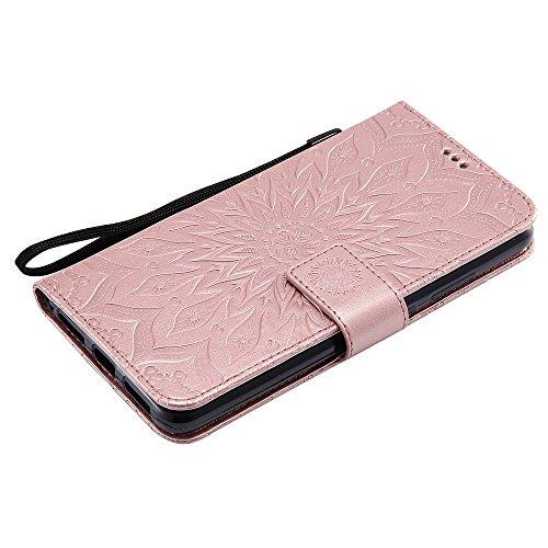 Für Huawei Mate 9 Fall, Prägen Sonnenblume Magnetische Muster Premium Soft PU Leder Brieftasche Stand Case Cover mit Lanyard & Halter & Card Slots ( Color : Pink ) Rose Gold
