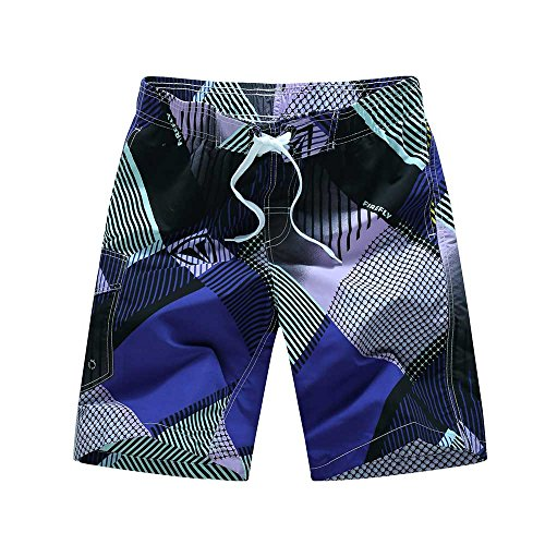 Pantaloncini da Bagno Uomo ,Costume da bagno Uomo Boxer con Tie anteriori Pantaloni Regolabile Costumi da bagno Traspirante Viola