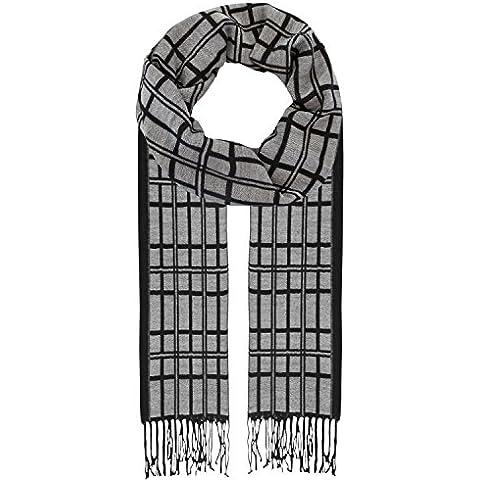 Ornella Venturi Firenze, Uomini sciarpa, lana viscosa, plaid grigio nero, SW1116U
