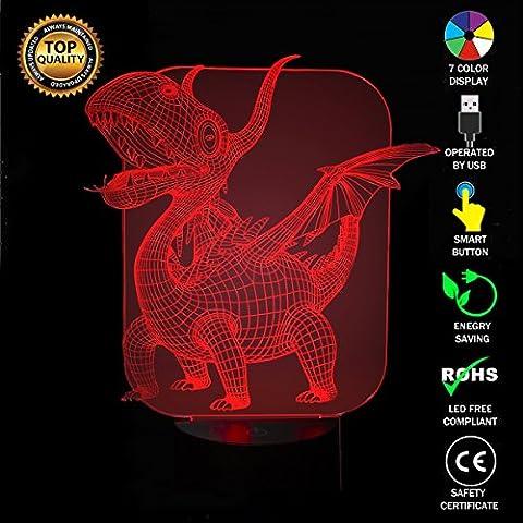 Dinosaure des Pterosaures 3D Lampes Illusions Optiques, FZAI Amazing 7 Changing Colors Acrylique Touch Button Table Bureau Night Light avec 150cm Câble USB Décoration de maison