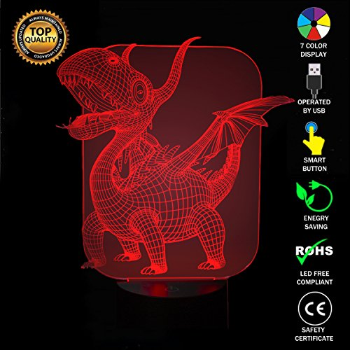 Dinosaurio de los Pterosaures 3d lámparas Illusions óptico, fzai Amazing 7 Changing Colors acrílico Touch Button mesa escritorio Night Light con 150 cm cable USB decoración de casa