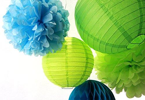 SUNBEAUTY 5er Set Blau & Grün Papierdeko Pompom & Wabenball & Lampion Geburtstag Feier Party Dekoration