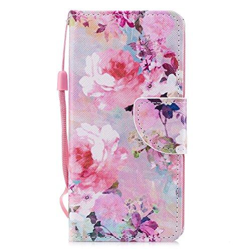 Chreey Huawei P20 Lite Hülle, PU Leder Schutzhülle mit Verträumte Blumen Muster Bumper Flip Wallet Case Handyhülle