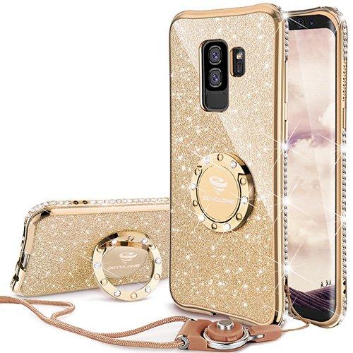 OCYCLONE Handy Hülle S9 Plus, Glitzer S9 Plus Hülle Mädchen Frauen, mit 360 Grad Ständer Ring Diamant Bling Strass Schutzhülle S9 Plus Handy Hülle, Gold