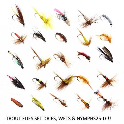 Forellen Fliegenfischen Fliegen Nassfliegen trocknet, & Nymphs am Haken Größen 10, 12oder 14Set 25-d-. HOOK SIZE 12 (Hook Fly Dry Barbless)