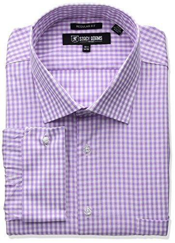 Stacy Adams Men's Big and Tall Gingham Check Dress Shirt, Purple, 20