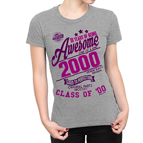 18 Years Of Being AWESOME Dames Femme 18th T-Shirt Class of 2000 Cadeau d'anniversaire Aged to Perfection von Buzz Shirts
