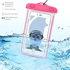 Samsung Galaxy Exhibit T599 Pink TRANSPARENT Underwater Protection Touch Responsive Dry Bag Case Cover for Samsung Galaxy Exhibit T599