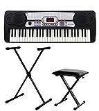 McGrey BK-5410 Beginner-Keyboard SET inkl. höhenverstellbarem Ständer und Sitzbank (54 Tasten, 100 Klangfarben, 100 Rhythmen, 8 Demo Songs, Netzteil, Notenhalter)