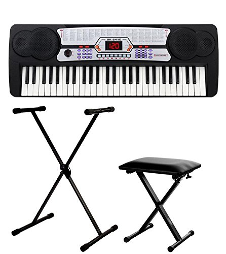 ner-Keyboard SET inkl. höhenverstellbarem Ständer und Sitzbank (54 Tasten, 100 Klangfarben, 100 Rhythmen, 8 Demo Songs, Netzteil, Notenhalter) ()