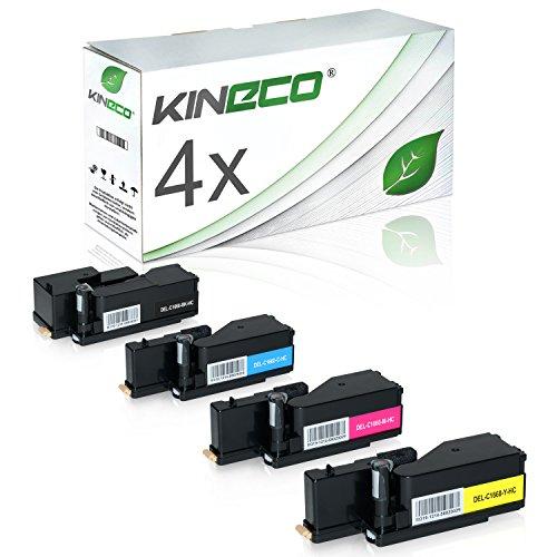 4 Toner kompatibel zu Dell C1660 W - 59311130 59311129 59311128 593211131 - Schwarz 1.250 Seiten, Color je 1.000 Seiten