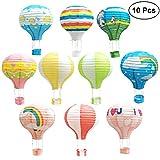 TOYMYTOY Lanterna di carta,mongolfiera palloncini,aerostato di aria calda appesa a 12 pollici per decorazioni da party, 10 pezzi