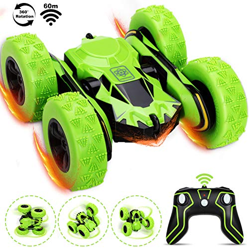 Fivejoy Ferngesteuertes Auto für Kinder, Wiederaufladbar RC Stunt Auto Rennauto, 360 ° Radio Ferngesteuerter Auto Spielzeug Rennfahrzeug , Auto Spielzeug Rennfahrzeug - Kindergeschenk ( Grün )
